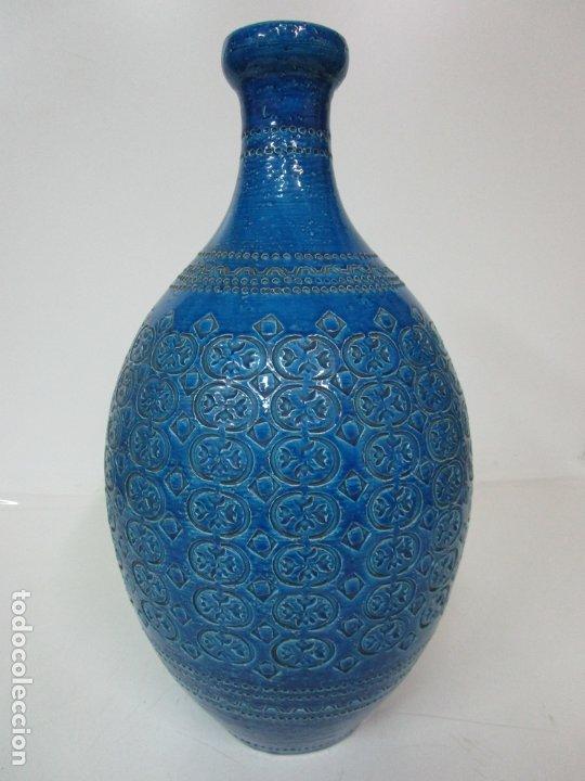 Vintage: Gran Jarrón - Cerámica Azul, Italia - Rimini Blue, Bitossi - Retro, Vintage - 52 cm Altura - Años 60 - Foto 6 - 180330575