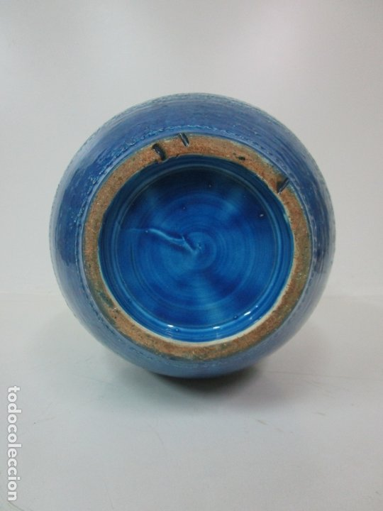 Vintage: Gran Jarrón - Cerámica Azul, Italia - Rimini Blue, Bitossi - Retro, Vintage - 52 cm Altura - Años 60 - Foto 11 - 180330575