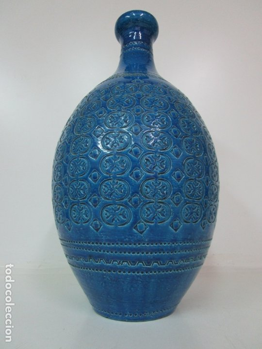 Vintage: Gran Jarrón - Cerámica Azul, Italia - Rimini Blue, Bitossi - Retro, Vintage - 52 cm Altura - Años 60 - Foto 13 - 180330575