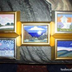 Vintage: PORSGRUND NORWAY, CINCO MINIATURAS PORCELANA 8X11, ENMARCADAS, MADERA 11,5X15. Lote 181482102