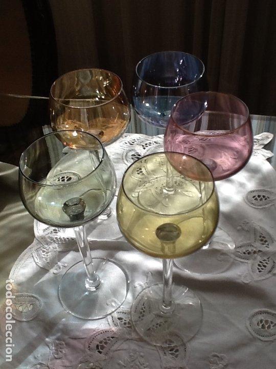 Vintage: 5 copas de cristal de color - Foto 2 - 181566007