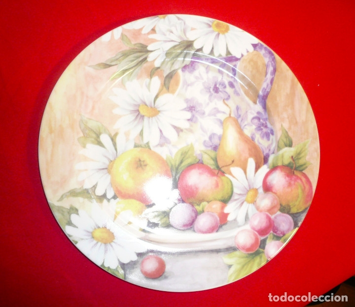 GRAN PLATO PORCELANA ESPAÑOLA MARCA HERRÁNDIZ. DIÁMETRO 30,5 CM. (Vintage - Decoración - Porcelanas y Cerámicas)