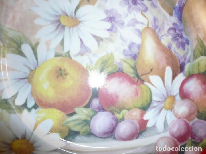 Vintage: GRAN PLATO PORCELANA ESPAÑOLA MARCA HERRÁNDIZ. DIÁMETRO 30,5 CM. - Foto 3 - 181910457