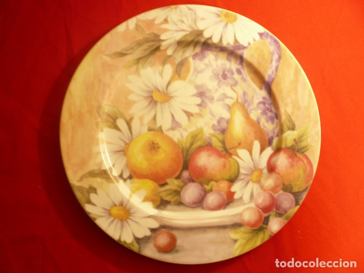 Vintage: GRAN PLATO PORCELANA ESPAÑOLA MARCA HERRÁNDIZ. DIÁMETRO 30,5 CM. - Foto 4 - 181910457