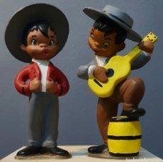 Vintage: 2 PRECIOSAS FIGURAS DE BARRO VINTAGE, FLAMENCOS.. Lote 183315665