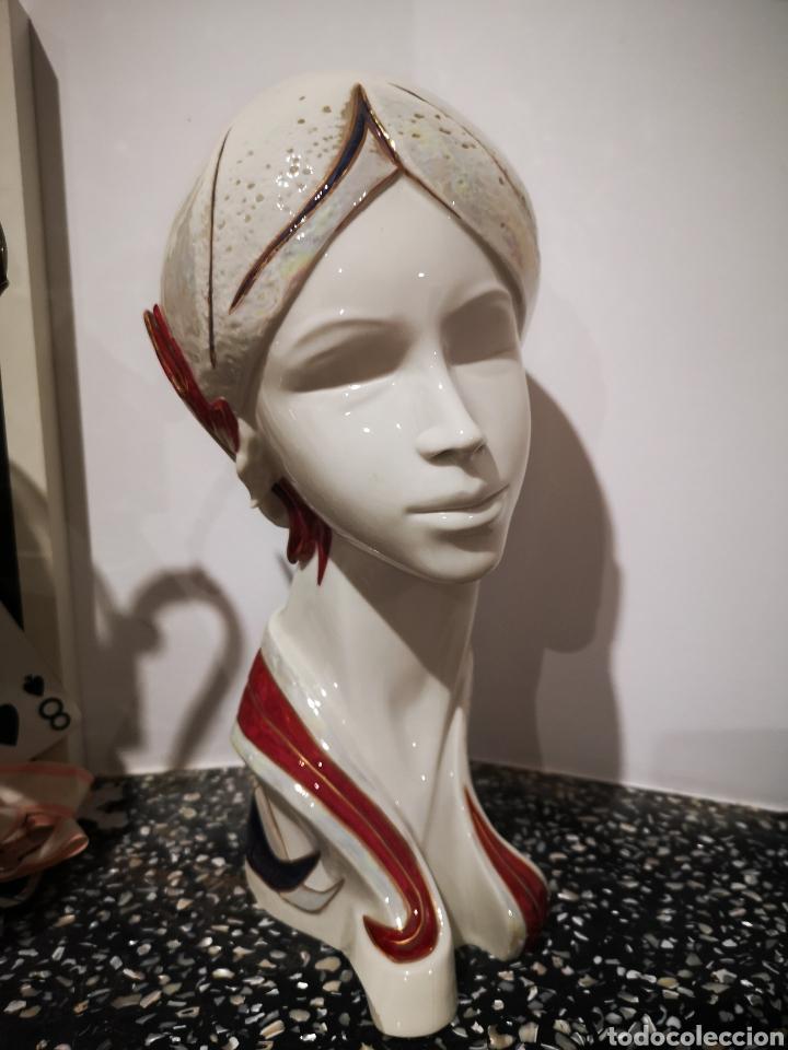 BUSTO FEMENINO EN PORCELANA GALOS, NUMERADO. 35CM (Vintage - Decoración - Porcelanas y Cerámicas)