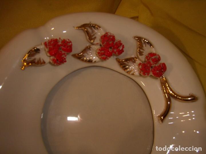 Vintage: Juego tocador cerámica 4 piezas, años 70, flores y hojas relieve, Nuevo sin usar. - Foto 4 - 184120738