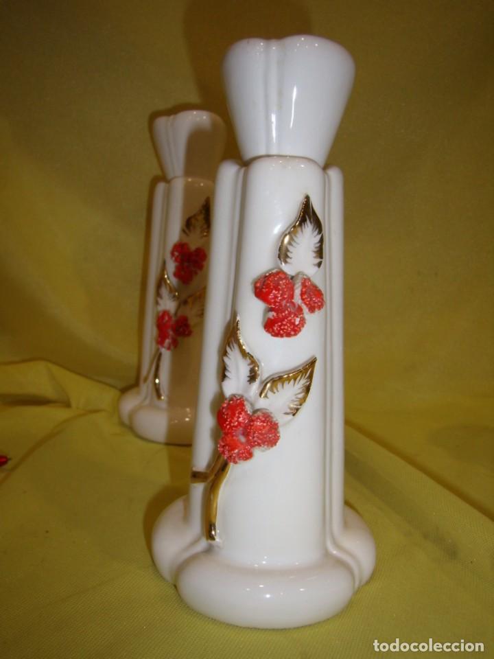 Vintage: Juego tocador cerámica 4 piezas, años 70, flores y hojas relieve, Nuevo sin usar. - Foto 9 - 184120738