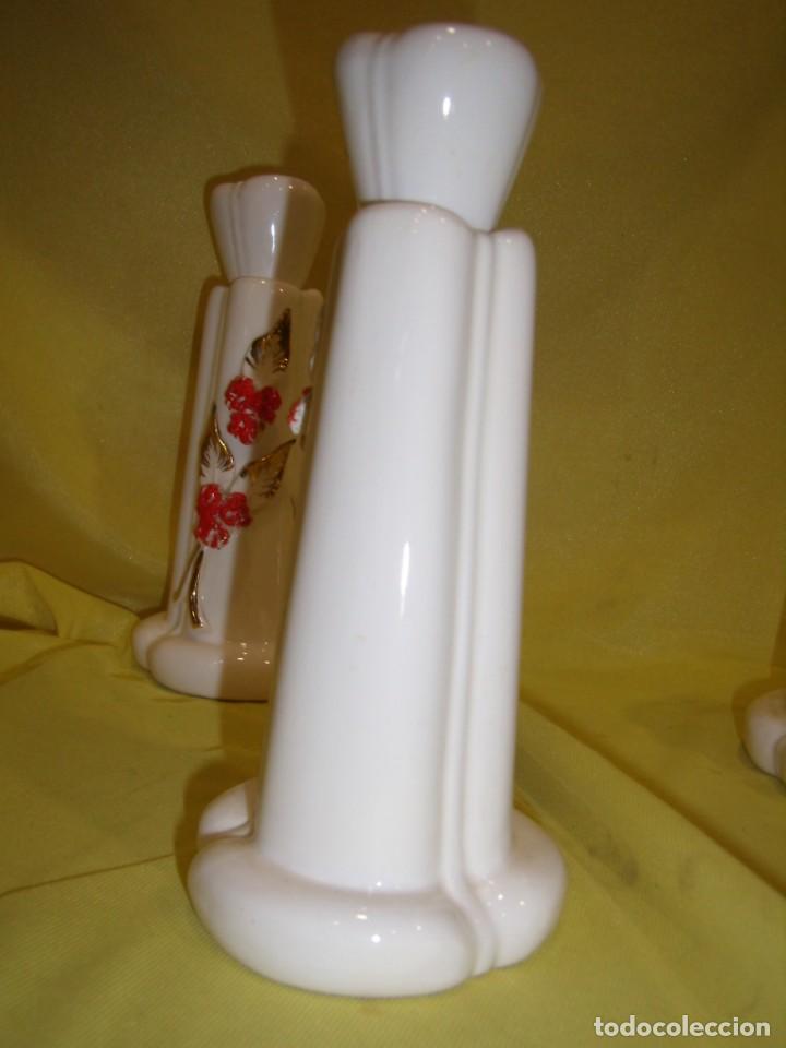 Vintage: Juego tocador cerámica 4 piezas, años 70, flores y hojas relieve, Nuevo sin usar. - Foto 10 - 184120738