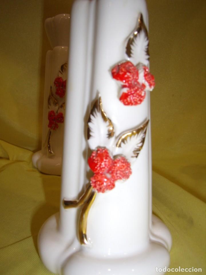 Vintage: Juego tocador cerámica 4 piezas, años 70, flores y hojas relieve, Nuevo sin usar. - Foto 11 - 184120738