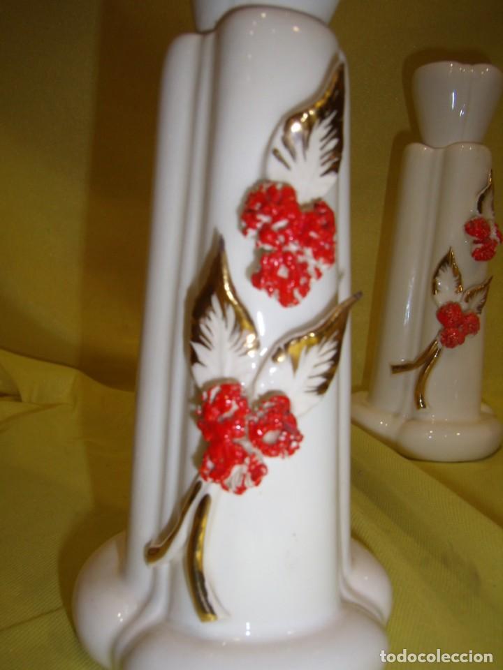 Vintage: Juego tocador cerámica 4 piezas, años 70, flores y hojas relieve, Nuevo sin usar. - Foto 15 - 184120738