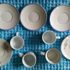 Vintage: 4 TAZAS CAFÉ 5 PLATOS-SAN CLAUDIO OVIEDO-.BIDASOA-ALVAREZ VARIOS TAMAÑOS. Lote 184162447