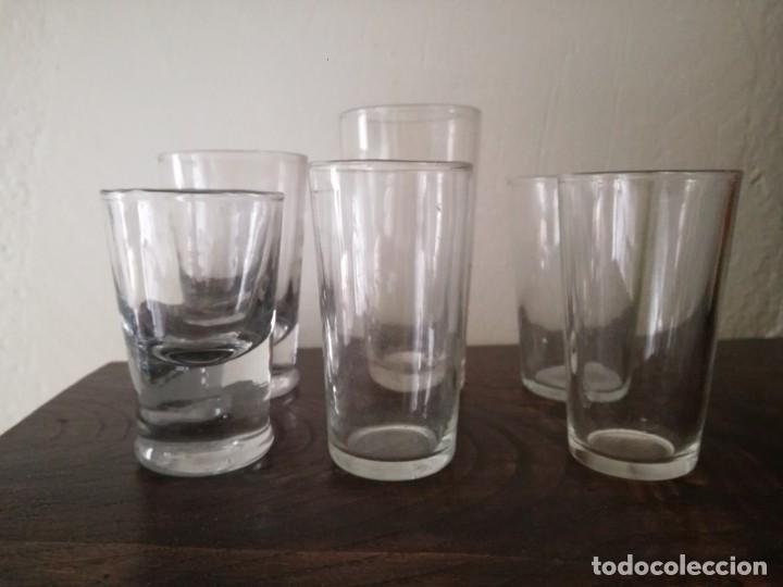 6 VASOS DE UNA CANTINA VINO DISTINTO TAMAÑO Y GROSOR (Vintage - Decoración - Cristal y Vidrio)