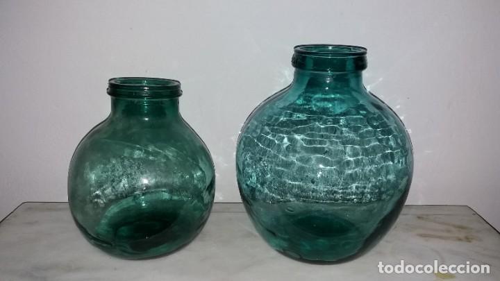 ANTIGUAS GARRAFAS DAMAJUANAS DE BOCA ANCHA PARA ACEITE O ACEITUNAS OLIVAS BOTELLA ORZA CRISTAL (Vintage - Decoración - Cristal y Vidrio)