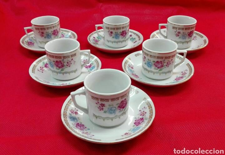 6 TAZAS, 6 PLATOS DE CAFÉ DE PORCELANA (Vintage - Decoración - Porcelanas y Cerámicas)