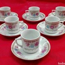 Vintage: 6 TAZAS, 6 PLATOS DE CAFÉ DE PORCELANA. Lote 185596211