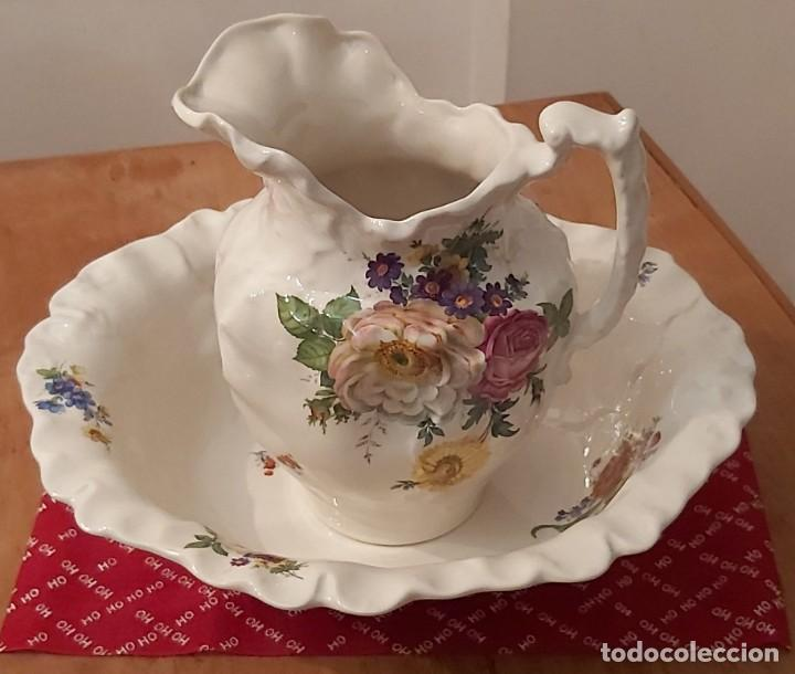 JARRA Y PALANGANA DE PORCELANA INGLESA BLAKENEY SIGLO XX (Vintage - Decoración - Porcelanas y Cerámicas)