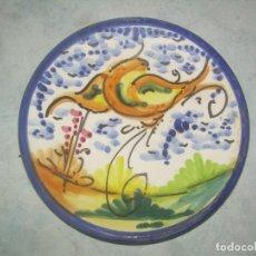 Vintage: ANTIGUO PLATO DE CERÁMICA MANISES, DECORADO CON DIBUJO AVE PÁJARO PINTADO. 15X2 CM. VINTAGE. Lote 187431725