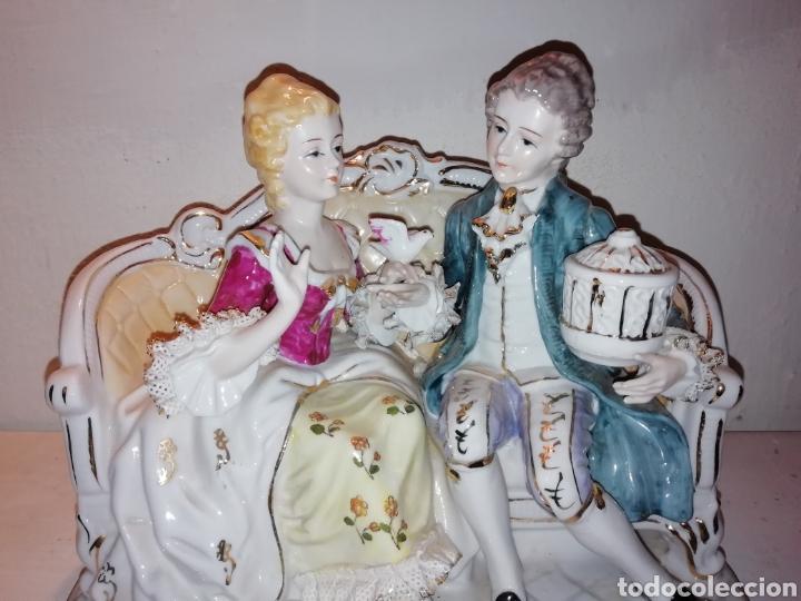 PRECIOSA PORCELANA FINA JAPÓN CON PUNTILLA. (Vintage - Decoración - Porcelanas y Cerámicas)