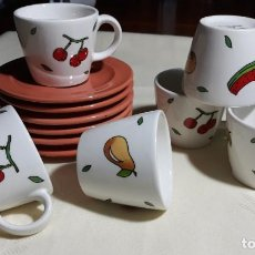 Vintage: 6 TAZAS Y 6 PLATOS CAFE PORCELANA. Lote 188761742