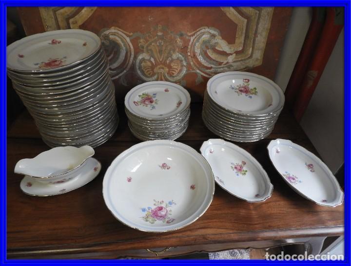 VAJILLA DE SANTA CLARA CON FLORES Y FILETE DE ORO (Vintage - Decoración - Porcelanas y Cerámicas)