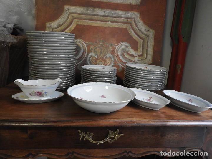 Vintage: VAJILLA DE SANTA CLARA CON FLORES Y FILETE DE ORO - Foto 7 - 190064162