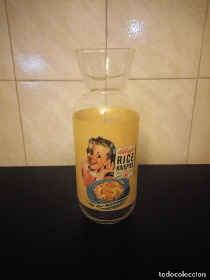 Vintage: Bonita botella de leche publicidad kellogg´s rice krispies. cristal serigrafiado. - Foto 3 - 190561011