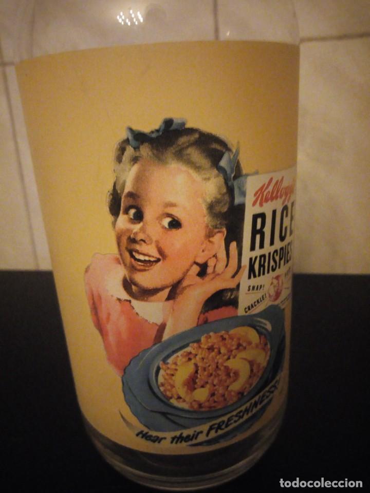 Vintage: Bonita botella de leche publicidad kellogg´s rice krispies. cristal serigrafiado. - Foto 4 - 190561011