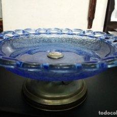 Vintage: ANTIGUO FRUTERO -. CRISTAL AZUL SOBRE BASE METÁLICA - PESO 1,4 KG. Lote 190569327