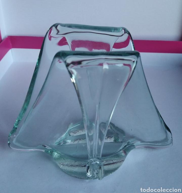 SERVILLETERO ANTIGUO CRISTAL VIDRIO VERDE SOPLADO (Vintage - Decoración - Cristal y Vidrio)