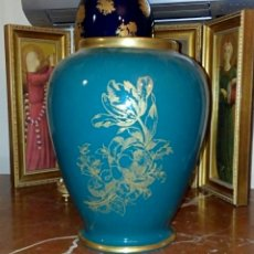 Vintage: ANTIGUO JARRON DE PORCELANA DE MANISES - VINTAGE - AZUL TURQUESA Y ORO. Lote 191354167