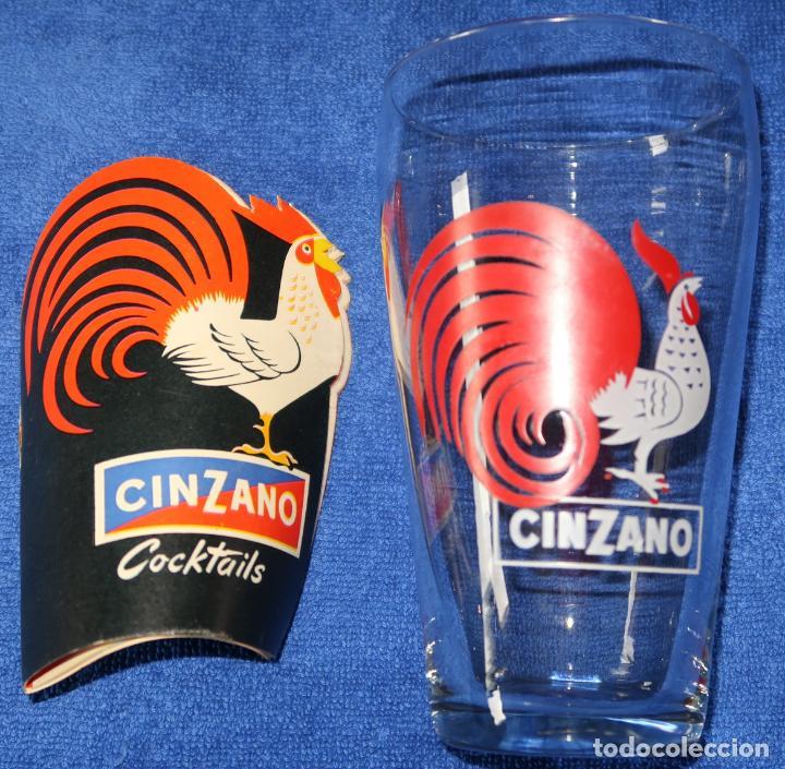 VASO CINZANO + GUÍA DE COCKTAILS (Vintage - Decoración - Cristal y Vidrio)