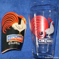 Vintage: VASO CINZANO + GUÍA DE COCKTAILS. Lote 191936966