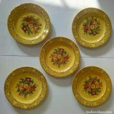 Vintage: SET DE 5 PLATOS ROYAL CHINA 22 KT ORO. Lote 192277527