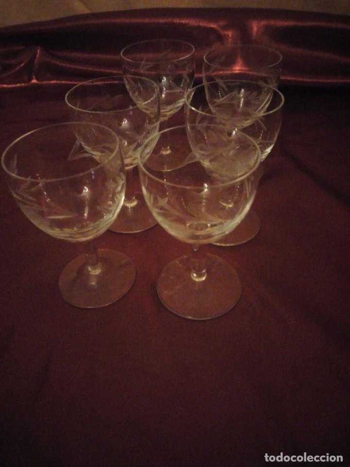 Vintage: Antiguo juego de 6 copas de licor de cristal. - Foto 3 - 192392583