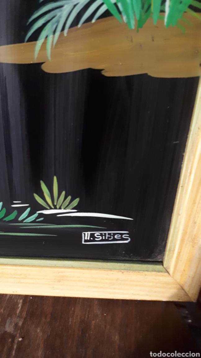 Vintage: Original oleo sobre cristal pintado a mano firmado II . SITJES o SIRJES AÑOS 50 - Foto 3 - 192661012