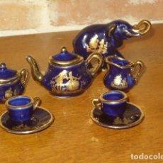 Vintage: JUEGO DE CAFE MINIATURA IMAGEN ROMANTICA EN PORCELANA Y ELEFANTE LIMOGES.. Lote 193020656