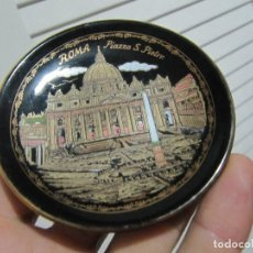 Vintage: PEQUEÑO PLATO ROMA PIAZZA S PIETRO HAND MADE 24 K GOLD AÑOS 80S. Lote 194254843