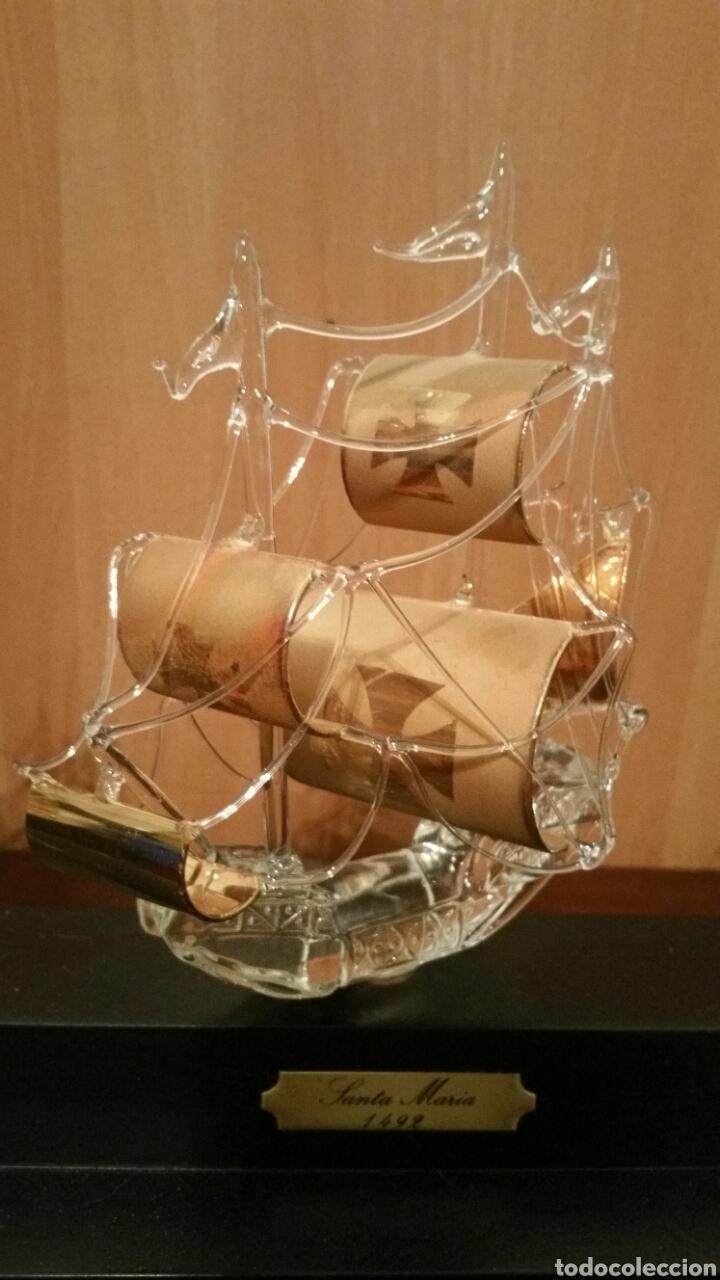 Vintage: 3 carabelas descubrimiento de América pinta santa maría niña en cristal sobre urna - Foto 4 - 194339998
