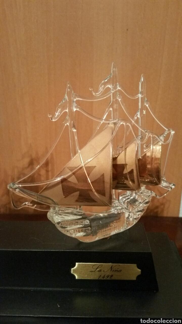 Vintage: 3 carabelas descubrimiento de América pinta santa maría niña en cristal sobre urna - Foto 5 - 194339998