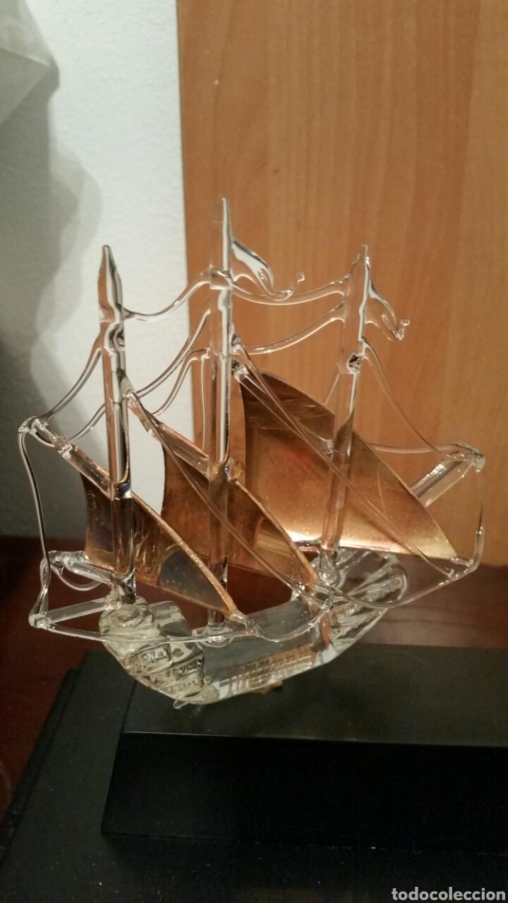 Vintage: 3 carabelas descubrimiento de América pinta santa maría niña en cristal sobre urna - Foto 6 - 194339998