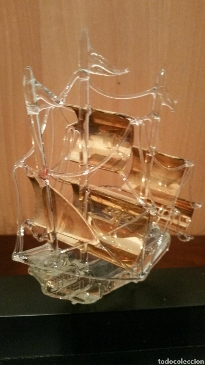 Vintage: 3 carabelas descubrimiento de América pinta santa maría niña en cristal sobre urna - Foto 7 - 194339998