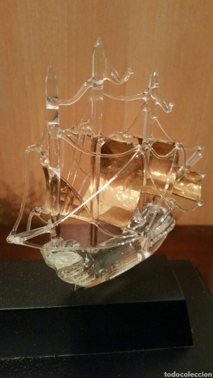 Vintage: 3 carabelas descubrimiento de América pinta santa maría niña en cristal sobre urna - Foto 8 - 194339998
