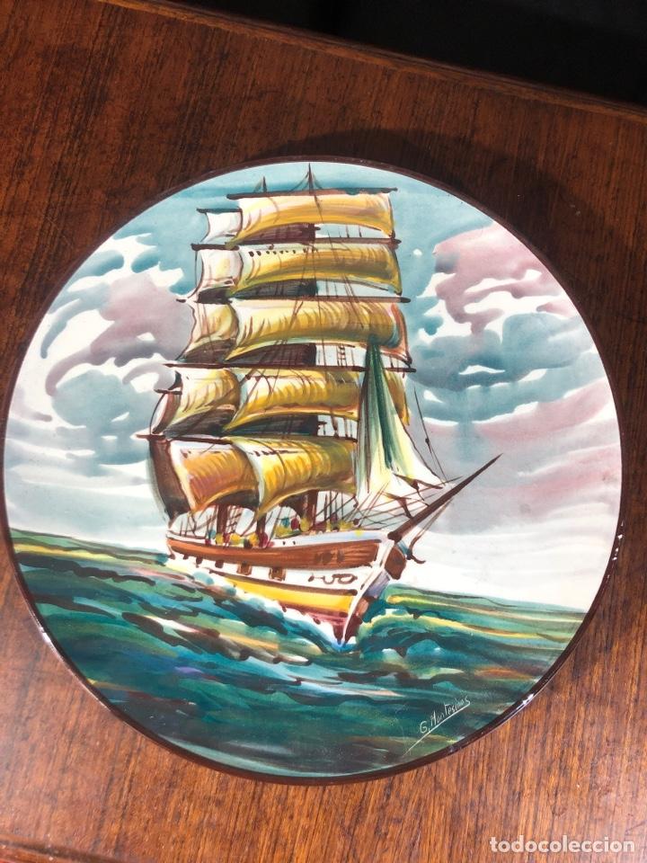 MAGNEFICO PLATO CERAMICA PINTADO A MANO Y FIRMADO DEL ARTISTA MONTESINOS 35 CM (Vintage - Decoración - Porcelanas y Cerámicas)