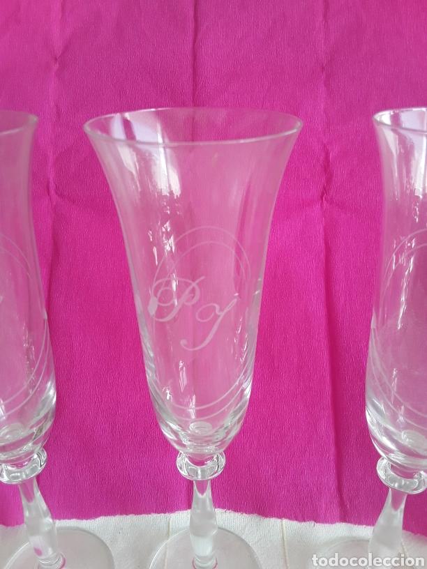 Vintage: 6 copas altas de champán o cava cristal tallado - Foto 2 - 194760270