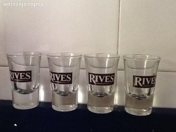 4 VASOS DE CHUPITO GINEBRA RIVES (Vintage - Decoración - Cristal y Vidrio)