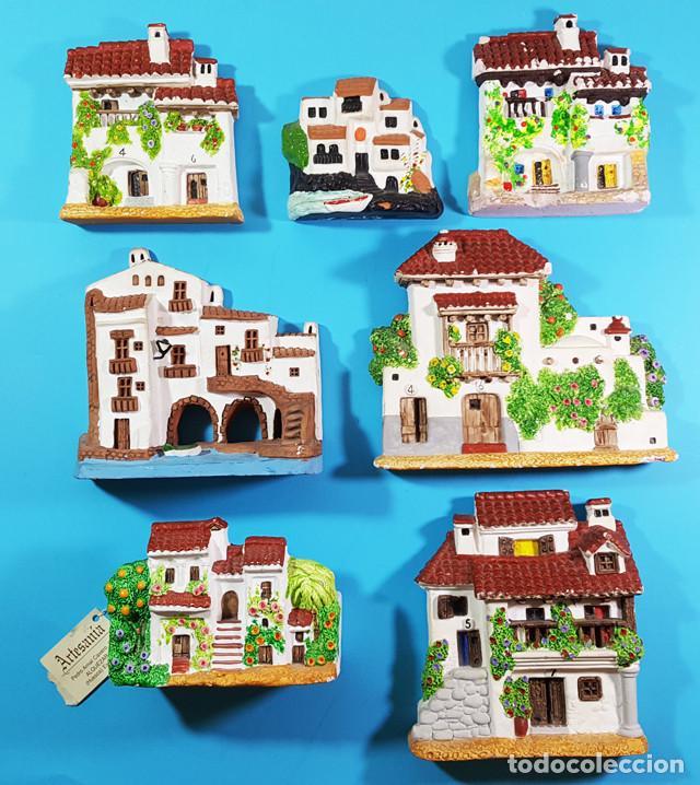 LIQUIDACION LOTE 7 CASITAS CASAS DE CERAMICA O BARRO PARA COLGAR VER DESCRIPCION Y FOTOS (Vintage - Decoración - Porcelanas y Cerámicas)