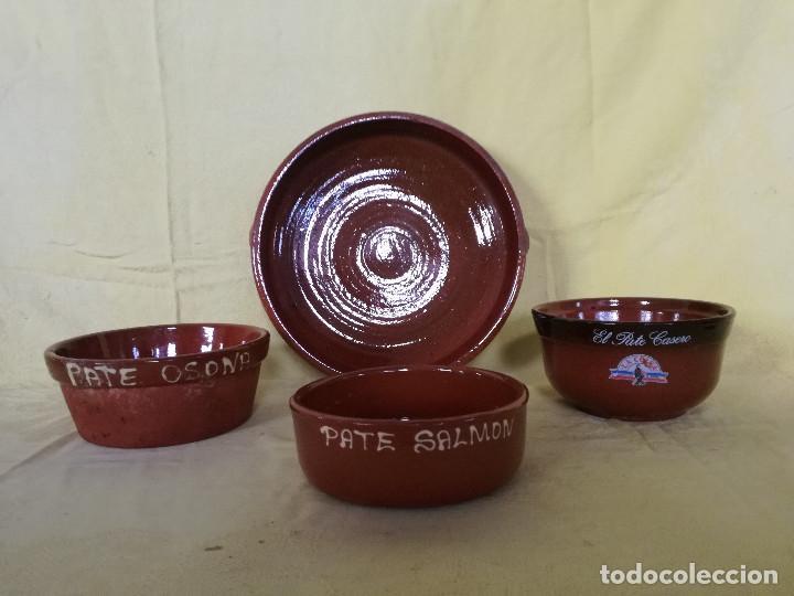 LOTE DE 4 PLATOS DE BARRO COCIDO, TRES DE PATÉS (Vintage - Decoración - Porcelanas y Cerámicas)