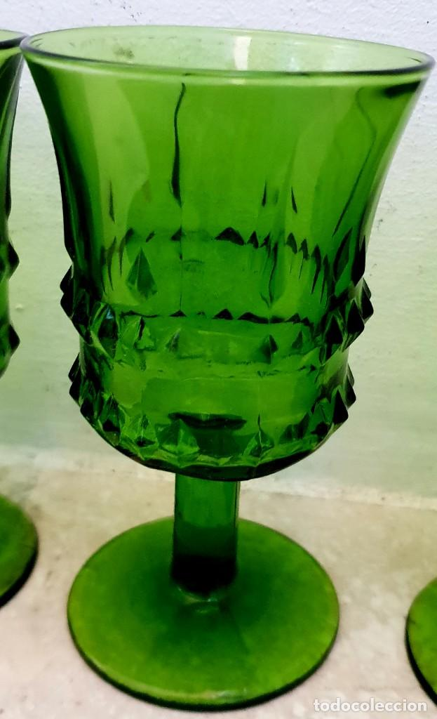 JUEGO DE 6 COPAS VERDES DURALEX. (Vintage - Decoración - Cristal y Vidrio)