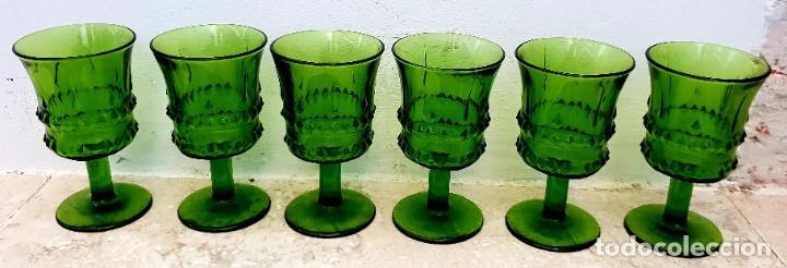 Vintage: Juego de 6 copas verdes duralex. - Foto 2 - 194883170